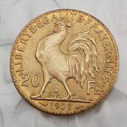 accesorios artesanales Rebajas Francia 20 francos 1908 Rooster Gold Copy Coin Free Shippi Brass Craft Ornaments réplica monedas accesorios de decoración del hogar