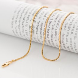 Wholesale Wholesale China Gold Filled Chains - chain Classic long 60cm thin round snake gold chain for men women 1.3mm 7.2 grams 18K yellow gold filled pendant necklace