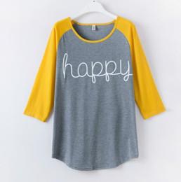 Wholesale Happy T Shirt - Wholesale- Women Spring Autumn Tops Long Sleeve O-neck Lady T-Shirt Happy Letter Printed Shirt Women Casual Clothing Plus Size S-XXXL