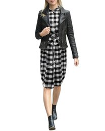 Wholesale Womens Tunic Shirt Dresses - Wholesale-Autumn Winter Dress 2016 Womens Long Sleeve Flannel Plaid Check Turn-down Collar Vestidos Casual Tunic Side Split Shirt Dress