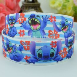 "Wholesale Grosgrain Stitched Ribbons - Free shipping 7 8"" 22mm lilo stitch Printed grosgrain ribbon,hairbow DIY handmade clothing materials wholesale OEM 50yards"