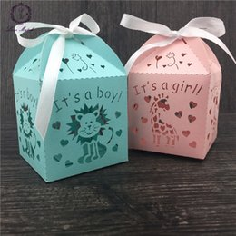 Wholesale Cutting Food Box - Wholesale- 50pcs party decoration wedding box gift lion and giraffe laser cut candy box just married wedding favor box baby shower favors