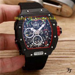 Wholesale Black Titanium Watch - Luxury Black NTPT Carbon Fibers TOURBILLON SPLIT SECS RM 50-03 Automatic Light Sports Mens Watch Big Date Black Canvas Strap Swiss Watches