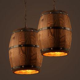 Wholesale Wood Knobs - Retro loft wood cask pendant lamp restaurant warehouse dining room Wine cellar aisle corridor pub cafe chandelier barrel light