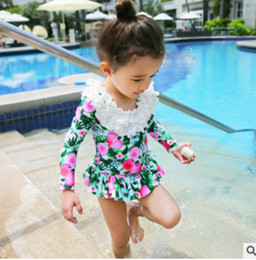 Wholesale Wholesale Two Piece Skirt Suits - Kids swimsuits child lemon printed long sleeve tiered ruffle collar swimwear+falbala skirt+hat 3pcs sets girl bathing suit quick dryingR0642
