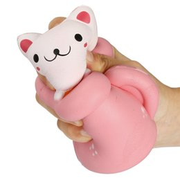 Wholesale New Toys Pussy - New 2017 Arrival 14CM Jumbo Squishy Kawaii Cup Cat Pussy Squeeze Cute Animal Slow Rising Scented Bread Cake Kid Toy Gift Doll