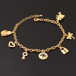 Wholesale American Girl Charm Bracelet - 18K Real Gold Plated Evil Eyes Cute Bracelet Key Lock Bear Hearts High Quality Bangles For Girls Jewelry Wholesale YH5184