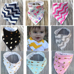 Wholesale Handmade Scarves - Baby Bibs Handmade Burp Cloths Infant INS Triangle Saliva Towels Newborn Cartoon Cotton Bandana Scarf Bibs KKA3233