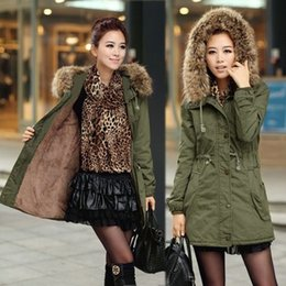 Wholesale New Women Long Fleece Coat - 2016 New Winter Parka Women Fleece Winter Coat Army Green Fur Hooded Coat Fashion Warm Women Jacket Chaquetas Mujer 9009