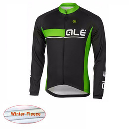 Wholesale Women S Coat Thermal - Ropa Ciclismo 2017 Team ALE Winter Cycling Jersey Long Sleeve coats Thermal Fleece mens Cycling Clothing mtb bike maillot A1006