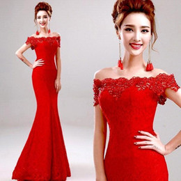 Wholesale Modern Chinese Wedding Dress - Cheap 2015 Modest Red Mermaid Lace Wedding Dresses Sexy Off the Shoulder Capped Beaded Crystal Long Chinese Wedding Dresses Formal Gowns