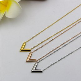 Wholesale Couple Pendants Gold - Agood fashion jewelry stainless steel silver pendant necklace for women men couples lovers rose gold letter V necklaces