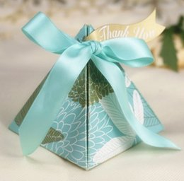 Wholesale Candy Box Pyramids - 100 Pcs European style blue golden Pearl paper triangle pyramid Wedding box Candy Box gift boxs wedding favour boxes TH131