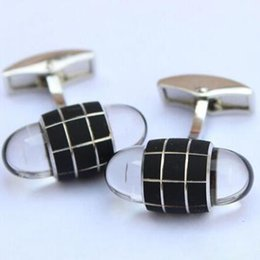 Wholesale Shirt Men Grid - MB Silver Grid MB Cuff Links for Men Business Suit French Shirts Sleeve Buttons Classic Crystal Head Cuff Links Or oriainal Box optional