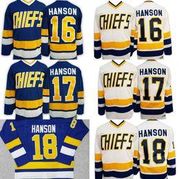 Wholesale Brother Full - Hanson Brothers Charlestown Ice Hockey Jersey #16 Jack #17 Steve #18 Jeff Hanson SlapShot Movie Jerseys Blue White Free shipping