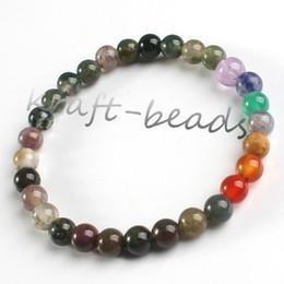 Wholesale Indian Stone Beads - Wholesale 10Pcs Charm natural Indian agate precious stone Round Shape Beads Stone chakra healing Bracelets Jewelry Gift