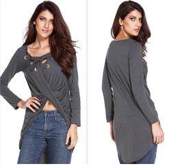 Wholesale long sleeve peplum top xl - Casual Loose Bandage Tshirts Women Irregular Front Short Back Long V-neck Spring Autumn Tops Long Sleeves Tees
