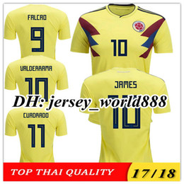 Wholesale Colombia Shorts - TOP QUALITY 2018 World Cup Colombia home yellow soccer jersey 17 18 away blue FALCAO JAMES CUADRADO TEO BACCA football shirts