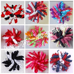 "Wholesale random hair styles - 20pcs Random 4"" M2M Gymboree style prints dot Curlies loop Ribbon Korker hair bows clips Girl women Corker hair bobbles Accessories PD007"