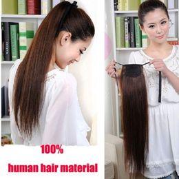 Médio ponytails marrom on-line-7A Cabelo Humano Rabo De Cavalo Peruca 4 # médio marrom 100% Remy Rabo De Cavalo Extensão Do Cabelo Humano 100g / Pcs Clipe Em Extensões Do Cabelo