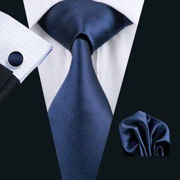 Gravata de seda azul escuro on-line-Homens de seda Azul Escuro Gravata Hankerchief Abotoaduras Set Jacquard Tecido Dos Homens Gravata Set Trabalho de Negócios Reunião Formal Lazer N-0770