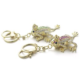 Wholesale Key Chain Crown - Unique Crown Frog Keyring Keychain Fashion Metal HandBag Pendant Purse Bag Buckle key chains holder Accessories Gift
