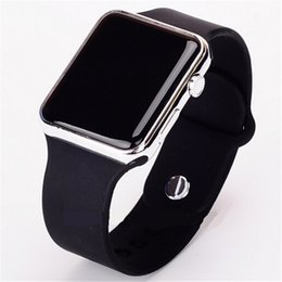Wholesale Wholesale Face Mirrors - New Fashion Unisex Square Mirror Face Silicone Band Digital Watches Women LED watch Men sport Wrist watch 12 colors