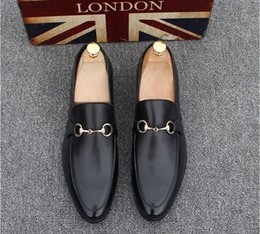 Wholesale Casual Wedding Party - 2018 New Fashion Men's Casual Loafers Genuine Leather Slip-on Dress Shoes Handmade Smoking Slipper Men Flats Wedding Party Shoes EUR 38-44