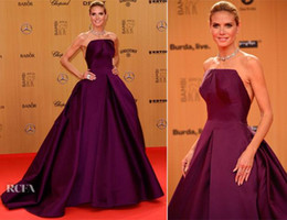 Wholesale Heidi Klum Blue Dress - 2016 Purple A-Line Long Formal Evening Dresses Heidi Klum Celebrity Dress Gowns Sweep Train elegant Prom Wear Sexy Party Gowns Vestidos