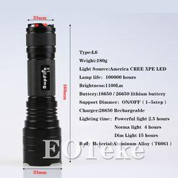 Wholesale Xml2 Flashlight - Eoteker 26650Battery 1100lumen 10W XML2-T6 Outdoor cycling gear rechargeable flashlight L6 aluminum alloy lamp bead light flashlight