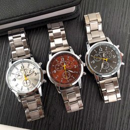 Wholesale Three Digital Watch - New Fashion Wholesale Geneva Three-eyes Six-pin 40MM Steel Alloy Quartz Watches With Black White Brown Colors For Couple Lover best gift