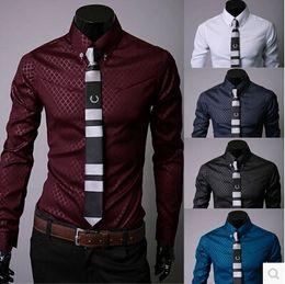 Wholesale Shirt Plaids Checks - Gift 2016 Noble Long Sleeve Diamond Plaid&Checked Slim Fit Business Casual Classic Polyester Mens Dress&Shirts Scrub Tops 5 Colo