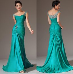 Wholesale Coral Light Discount - 2016 Mermaid V-neck Floor Length Turquoise Chiffon Cap Sleeve Prom Dresses Beaded Pleats Discount Prom Gowns Formal Evening Dresses