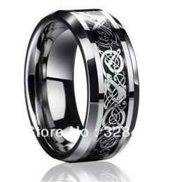 Wholesale Tungsten Dragon Wedding Bands - 8mm wide Free Shipping Mens Dragon Tungsten Carbide Ring Mens Jewelry Wedding Band silver New size 4-13