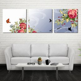 Wholesale Peony Flowers Pictures - Triple Cross wall Spray Painting Peony Flowers Hand-painted Painting Canvas Art Decorative Scenery Room Home Decor Wall Unframed Arts