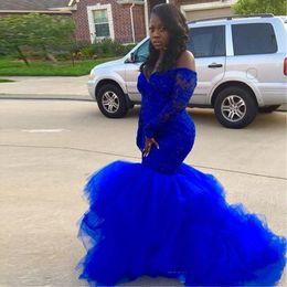 Wholesale Navy Blue Girls Tutu Dresses - Royal Blue Long Sleeve Prom Dresses Black girl Elegance Lace Tutu Evening Dresses African Lady formal Event Gowns