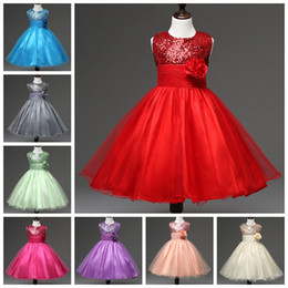 Wholesale Veil Dresses - Retail 110-160 girls Sequins dress with flower on waist sleeveless children sparkle dresses kids veil party prom tutu skirt for big girl