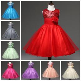 Wholesale Retail Dresses - Retail 110-160 girls Sequins dress with flower on waist sleeveless children sparkle dresses kids veil party prom tutu skirt for big girl