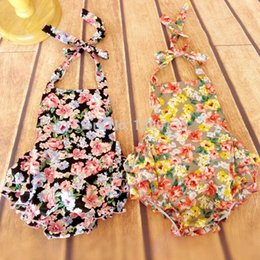 Wholesale Baby Boy Swimwear 12 Months - Wholesale-Baby Girl Clothing Floral Newborn Baby Girl Clothes Rompers with Ruffled Pant Baby Jumpsuit Sleeveless Belt Swimwear