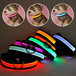Wholesale Extra Lights - Hot Sale Free shipping New Safety Pet Products LED Dog Collar Nylon Light-up Flashing Glow LED Collars S M L XL Neck Strap For Small Dog