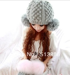 Wholesale Knitted Hats Big Ball - Wholesale-Free shipping 1 Pcs 2015 New Winter Warm Knitted Caps Women Big Ball Fashion Wool Hat Gray All Code Size Elastic