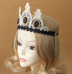 Wholesale Gothic Veil - Wholesale-Gothic wind Sin crown Hair ornaments Mask Christmas queen Baroque Ornaments veil