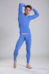 Wholesale Mens Sexy Thermal Underwear - Mens fashion sexy tight low waist underwear set men translucent thermal underwear