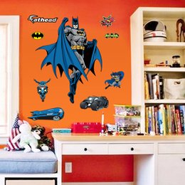 Wholesale Wall Stickers Batman - 2015 hot batman cartoon 3D Wall Sticker Kids Rooms Wall Adhesive wall decals 2pcs lot free shipping