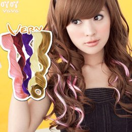 Wholesale Good Quality Hair Accessories - Good Quality Colorful Popular Colored Curly Hair Products Clip On In Hair Extensions For Women Ladies Cosplay Hair Accessories