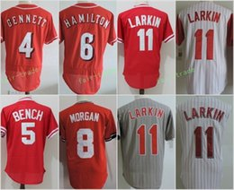 Wholesale Baseball Benches - Cincinnati 4 Scooter Gennett 5 Johnny Bench 6 Billy Hamilton 11 Barry Larkin Flexbase Jerseys Cool Base Throwback Stitched Red White