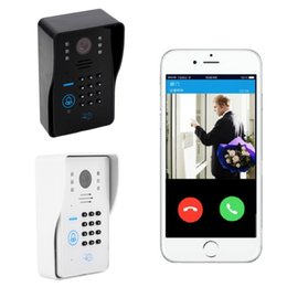 Wholesale Video Intercom Keypad Systems - Wholesale Wired Touch Key Video Door Phone Intercom System 1 RFID Keypad Code Number Doorbell Camera 1 Monitor FREE SHIPPING