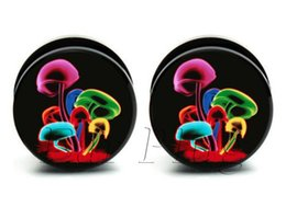 Wholesale Ear Expander Black - 60pcs bag body piercing Psychedelic Mushrooms plug black acrylic screw ear plug gauges tunnel ear expander 10 sizes ASP0060