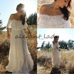 Wholesale Trimmer Shoulder Strap - 2017 Cheap Simple Country Bohemian Lace Wedding Dress Off Shoulder Applique Trim Chiffon Full Length Garden Boho Beach Wedding Bridal Gowns