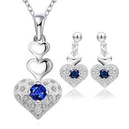Wholesale Blue Sapphire Heart Necklace - New Elegant 925 Sterling Silver AAA Zircon Heart Sapphire Neclace Earrings Jewelry Set S772 Women Party Jewelry
